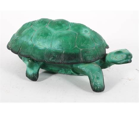 A malachite glass dish and cover in the form of a tortoise, 21cm long