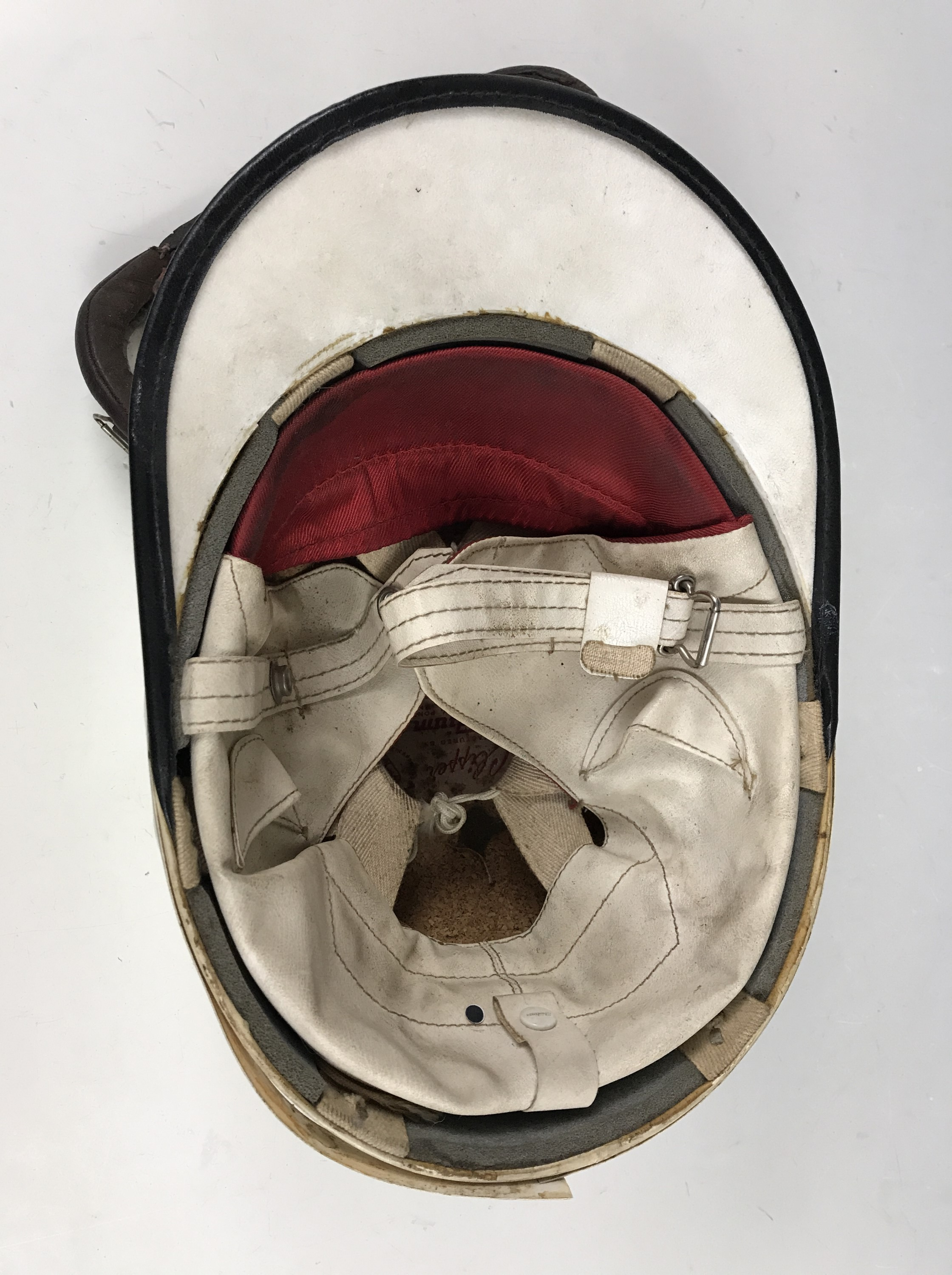 Lot 10 - A vintage Clipper motorcyclist's / driver's helmet together with a set of RAF Mk VIII goggles