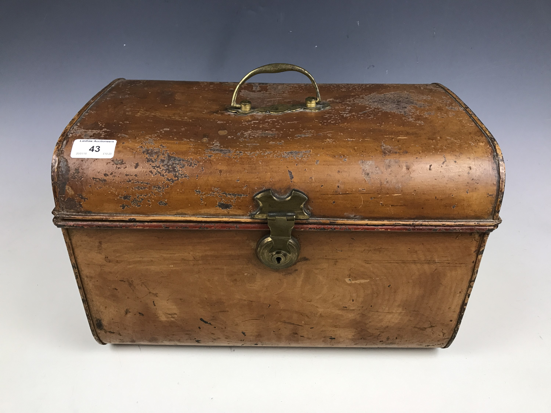 Lot 43 - A small Victorian tinplate trunk