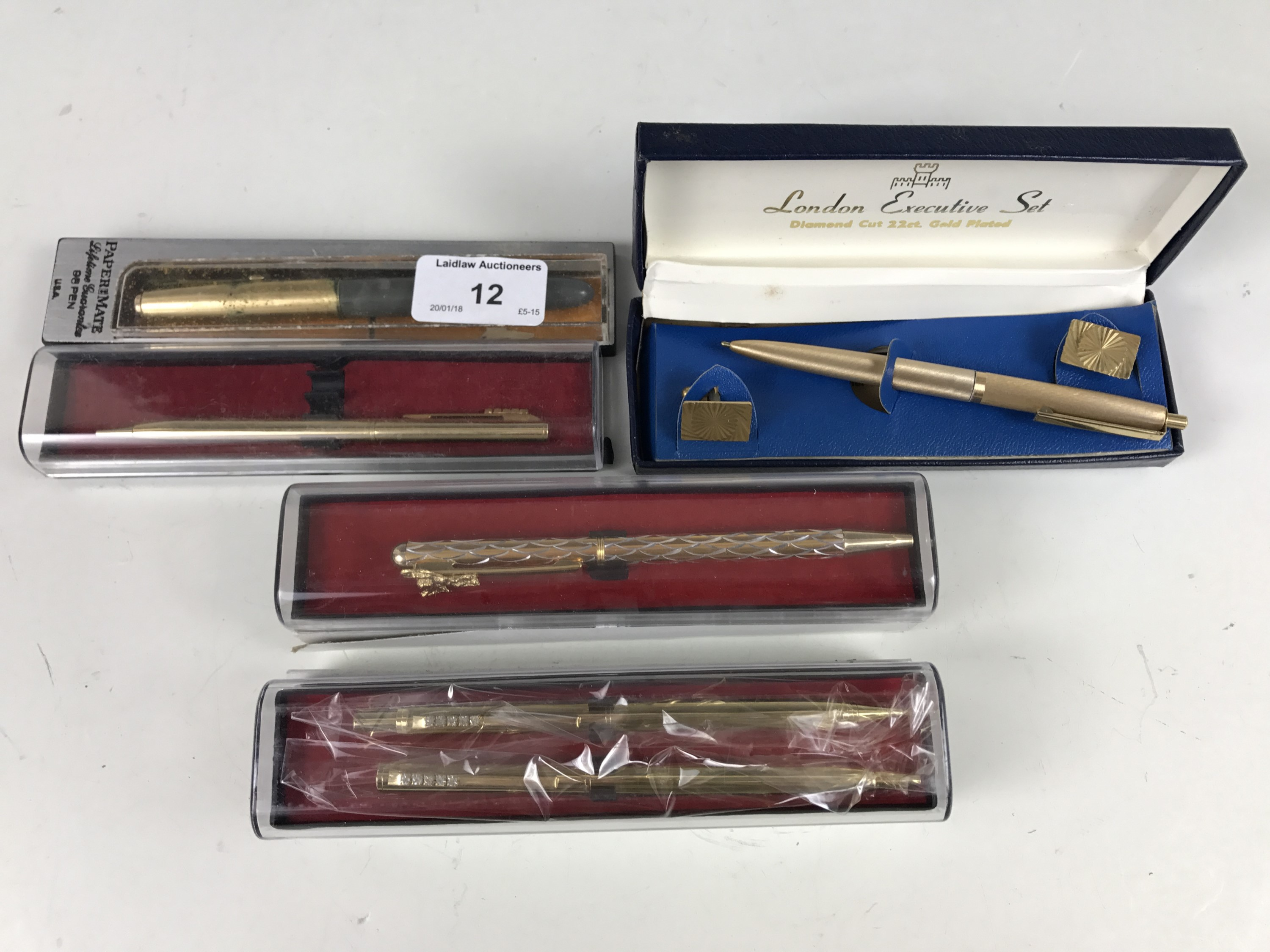 Lot 12 - A Papermate fountain pen together with four other pens