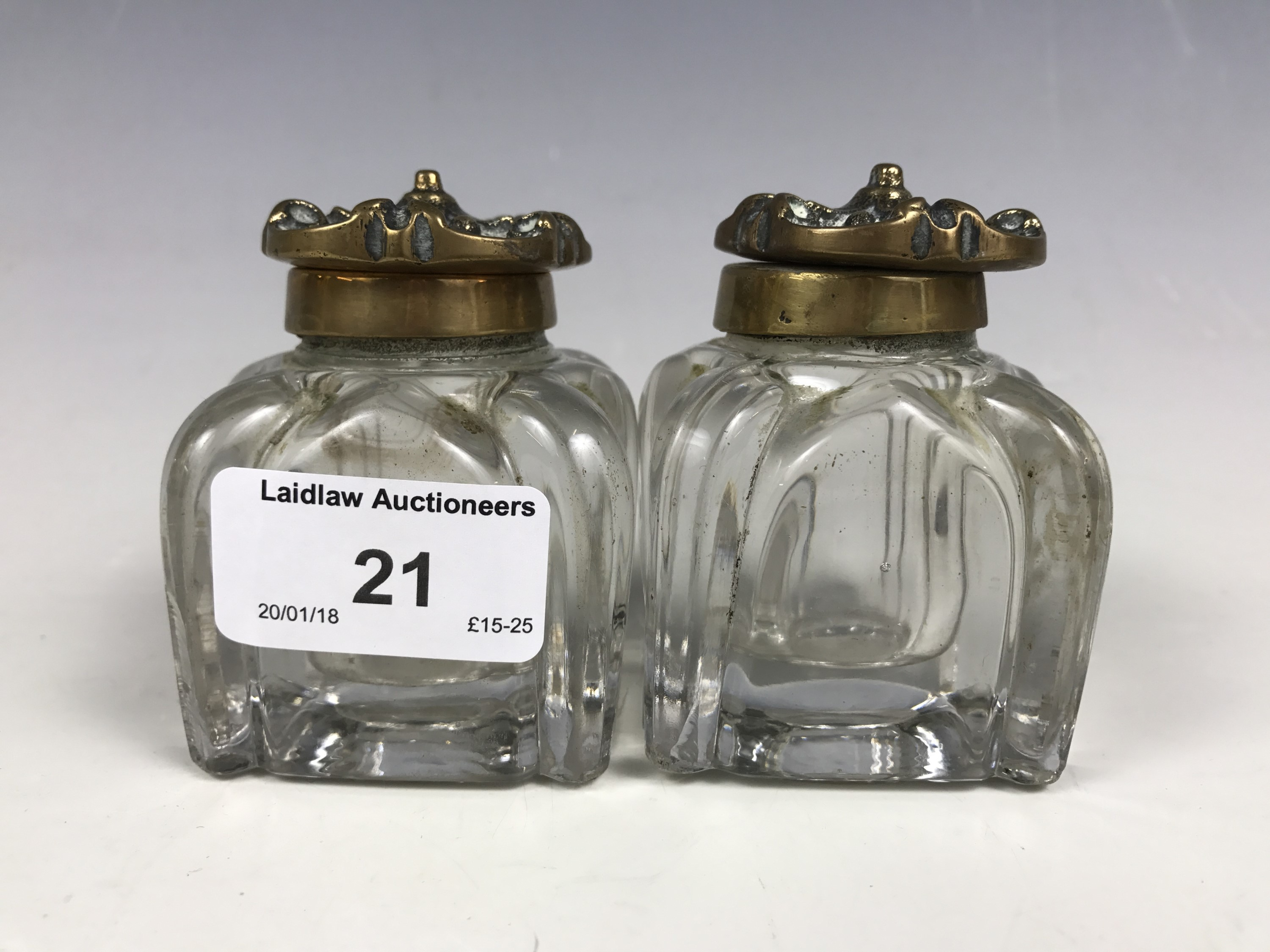 Lot 21 - Two Victorian inkwells