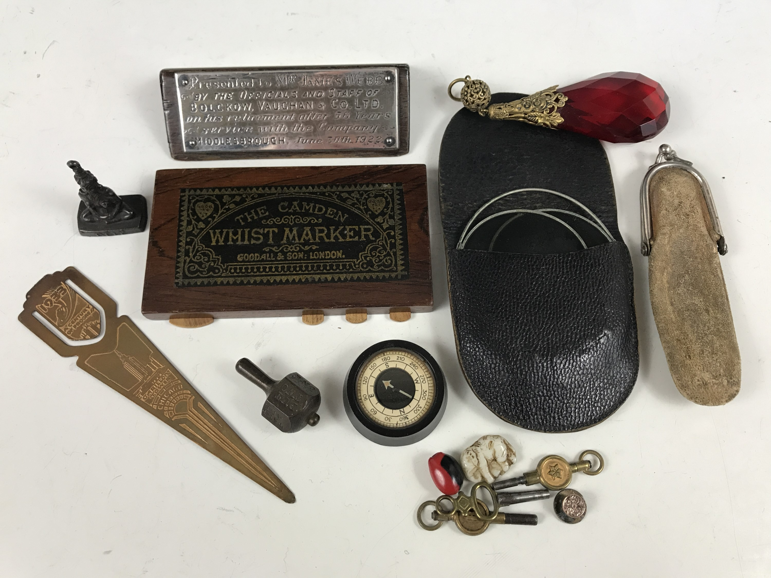 Lot 47 - Sundry collectors' items including a 1933 Chicago bookmark, a pill spinner, a compass, pocket