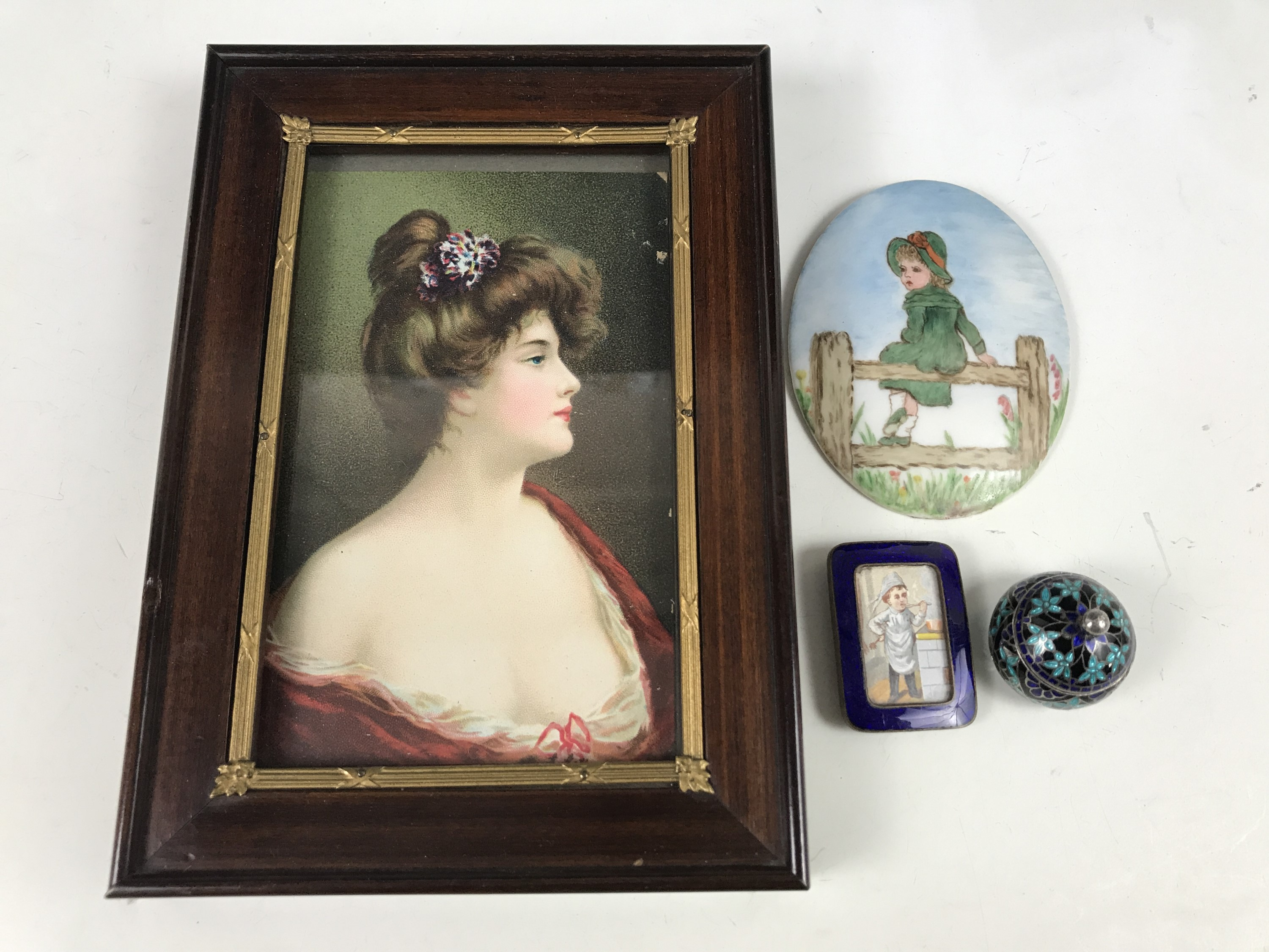 Lot 4 - An early 20th Century framed print depicting a sentimental lady together with a hand painted plaque,
