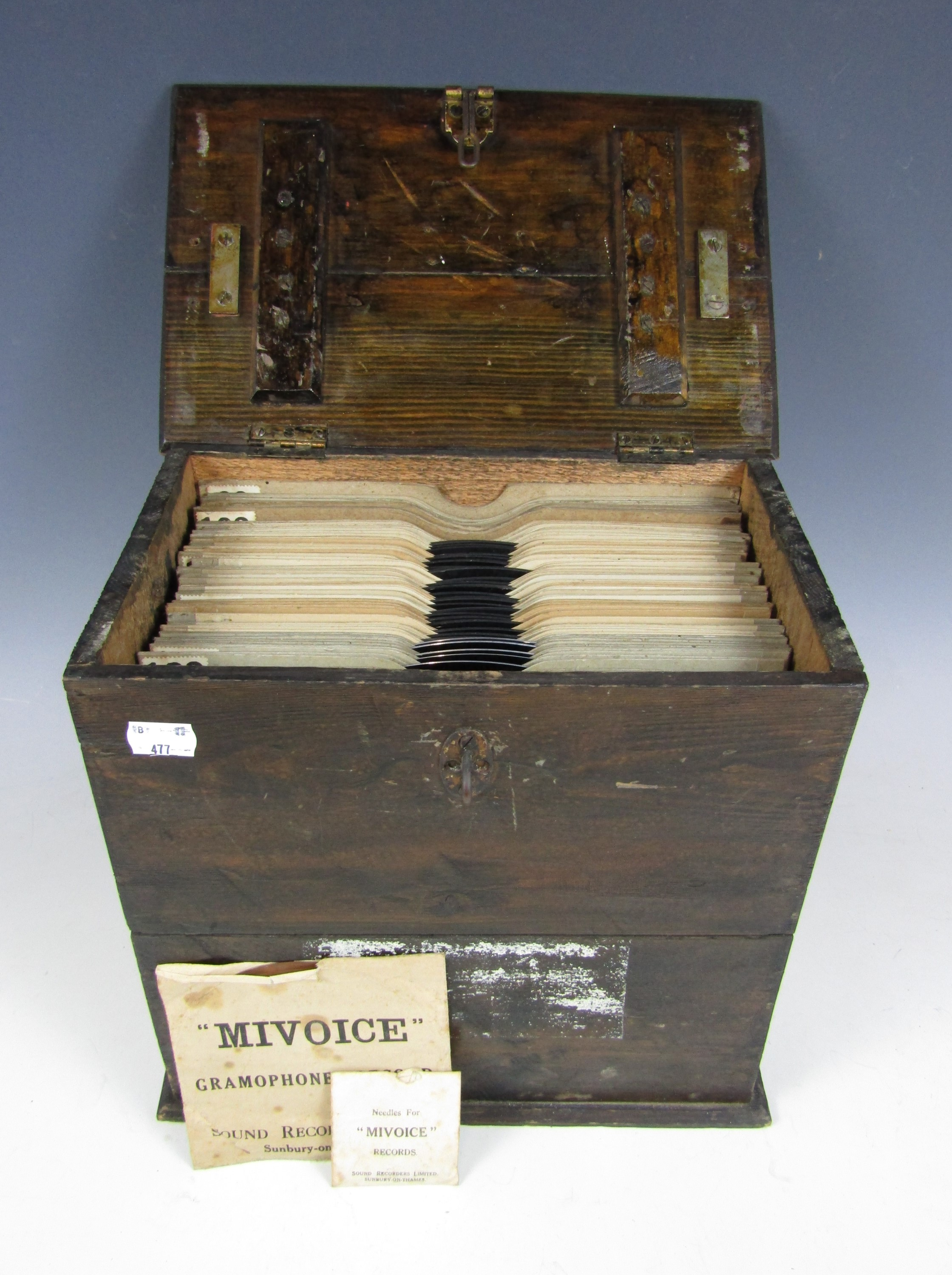 Lot 35 - A wooden case of 78 rpm records together with Miudice record needles and a record