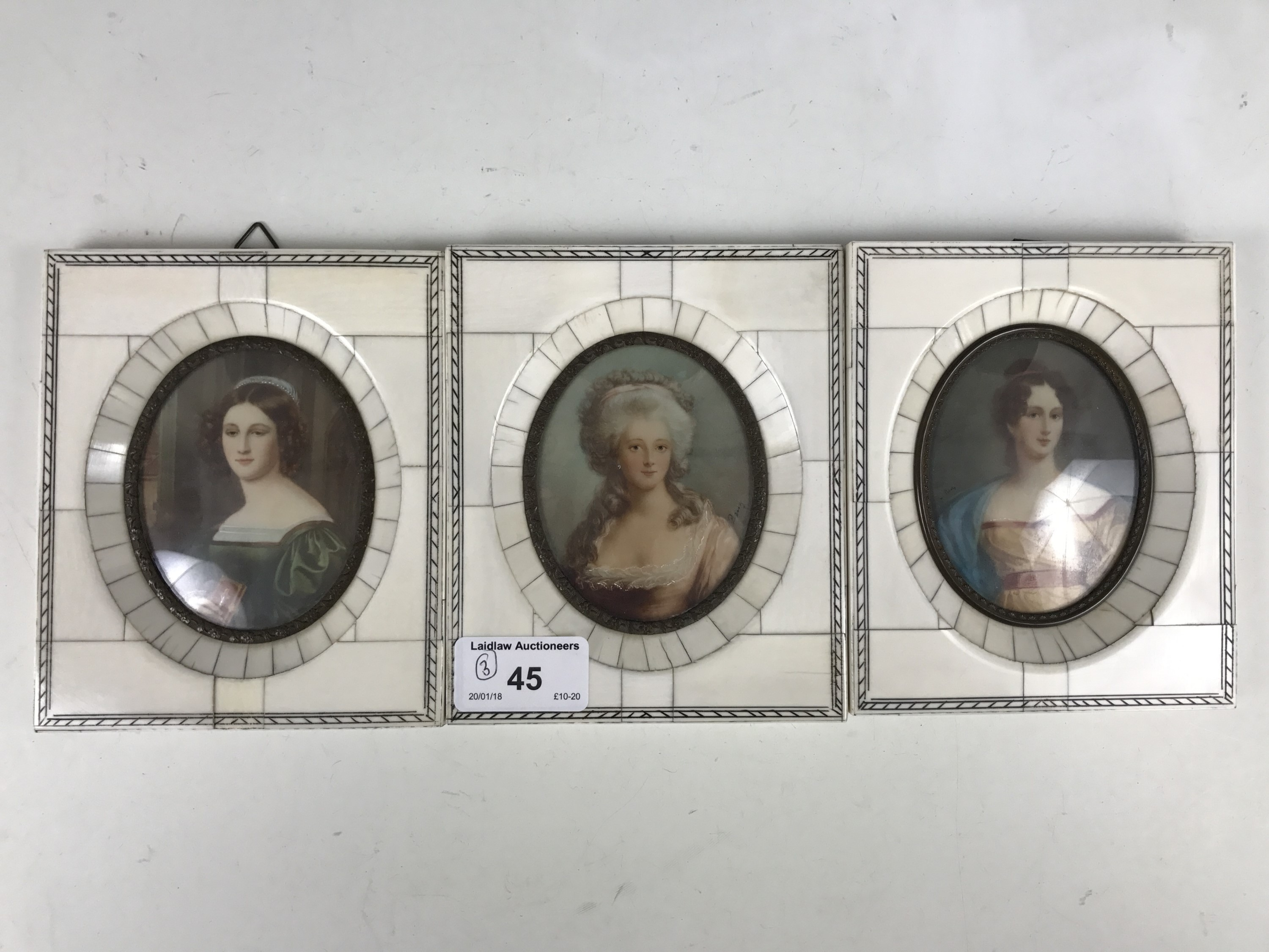 Lot 45 - Three portrait miniatures of historical women including Marie Antoinette and Mary Queen of Scots,