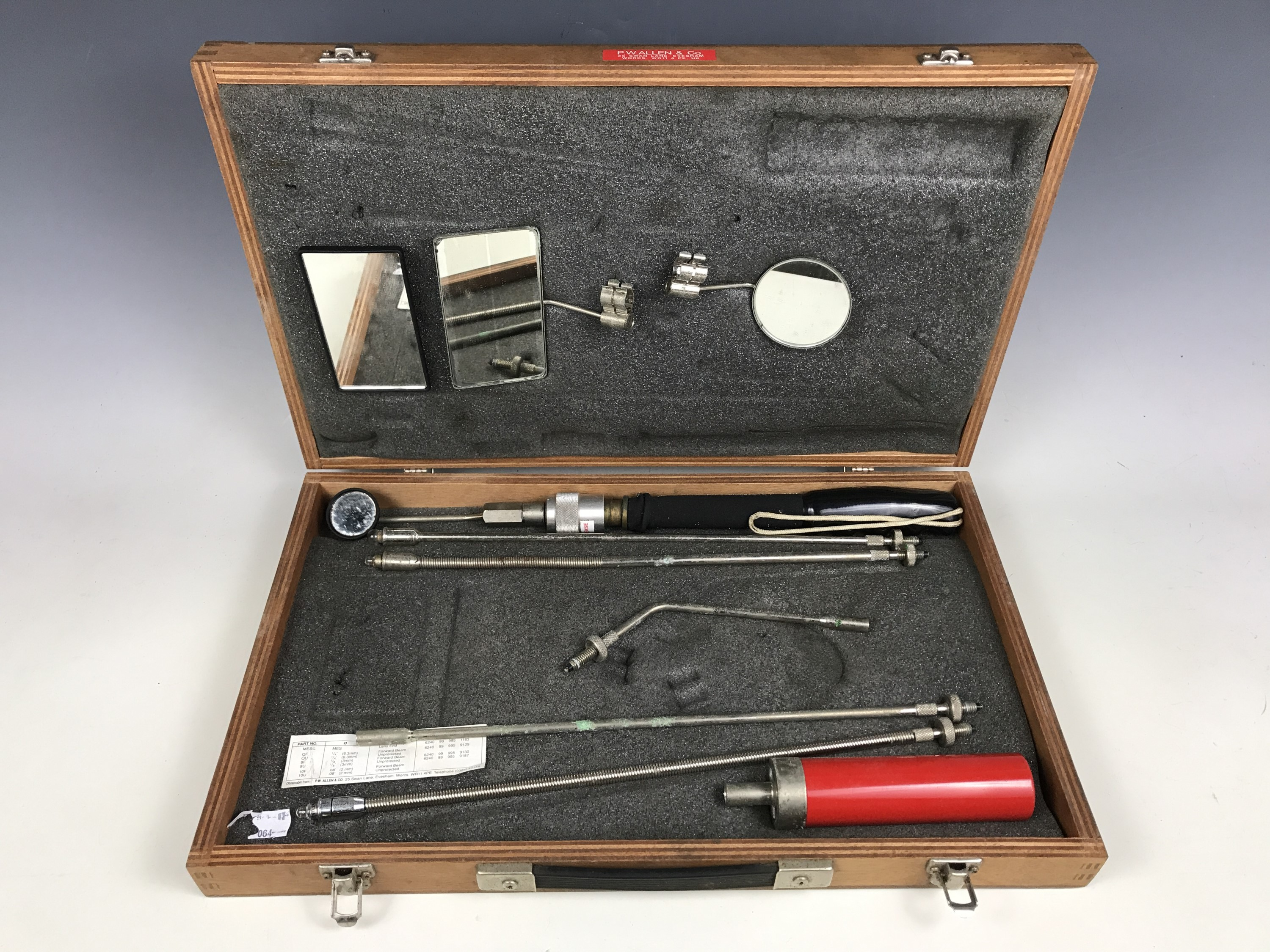 Lot 52 - A vintage wooden cased inspection kit by P. Wallen & Co