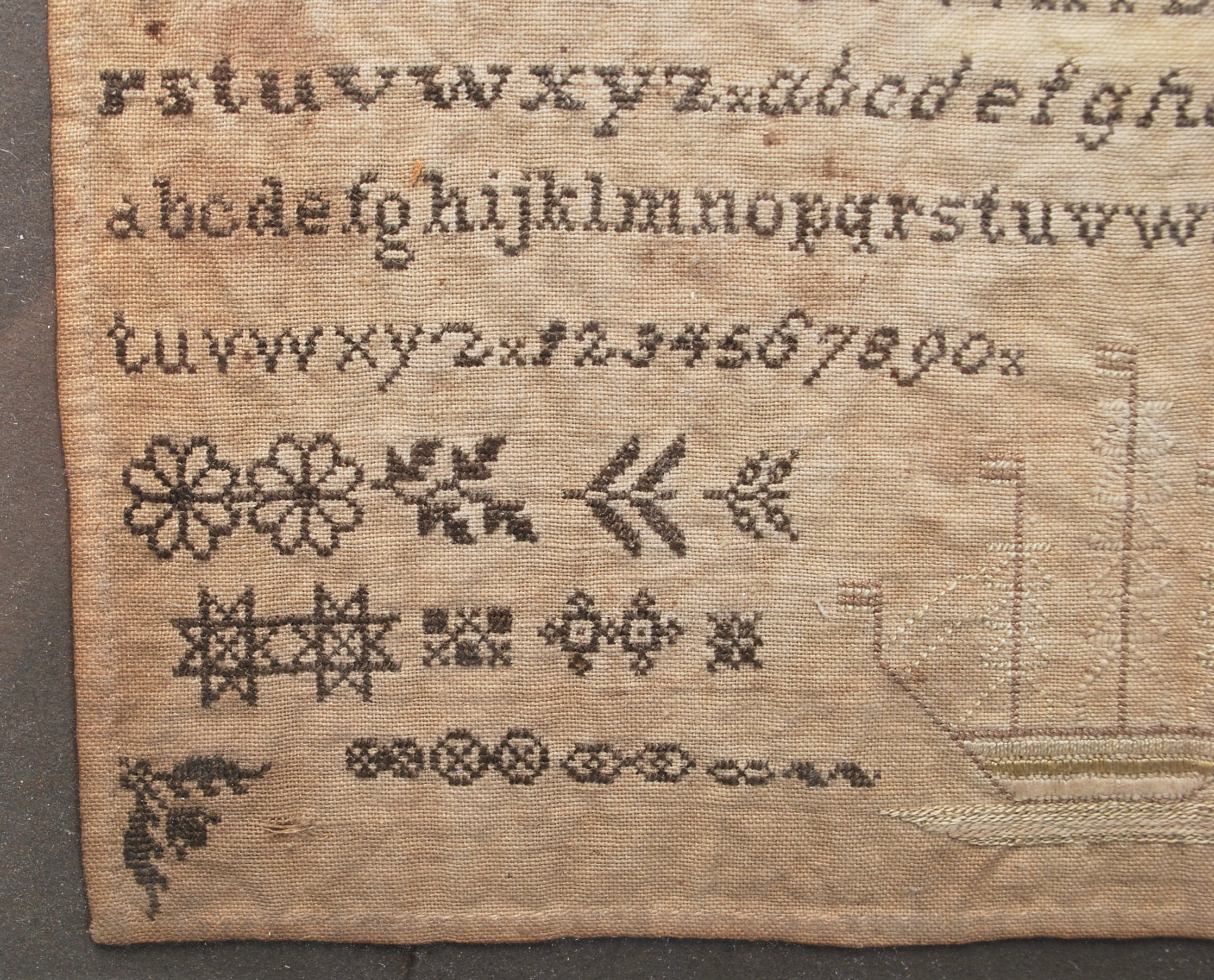 A 19th Century Victorian needlework / needlepoint embroidery sampler stitched with the alphabet, - Image 3 of 5