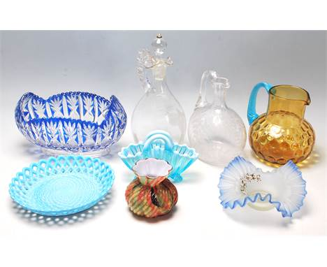 A collection of 19th century and later Victorian glass to include Mary Gregory enamelled glass decanter with a stopper depict