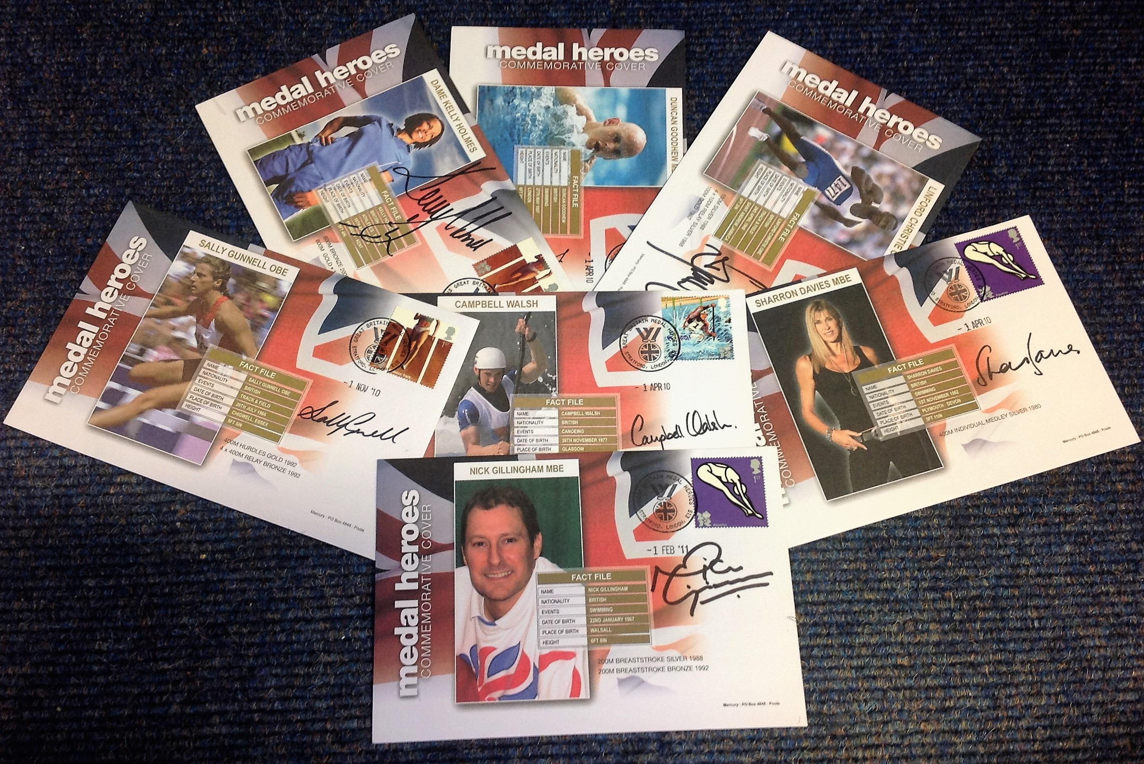 Lot 12 - Olympic Medal Winner collection includes 7 FDC Pm Stratford London E15 signed by Dame Kelly