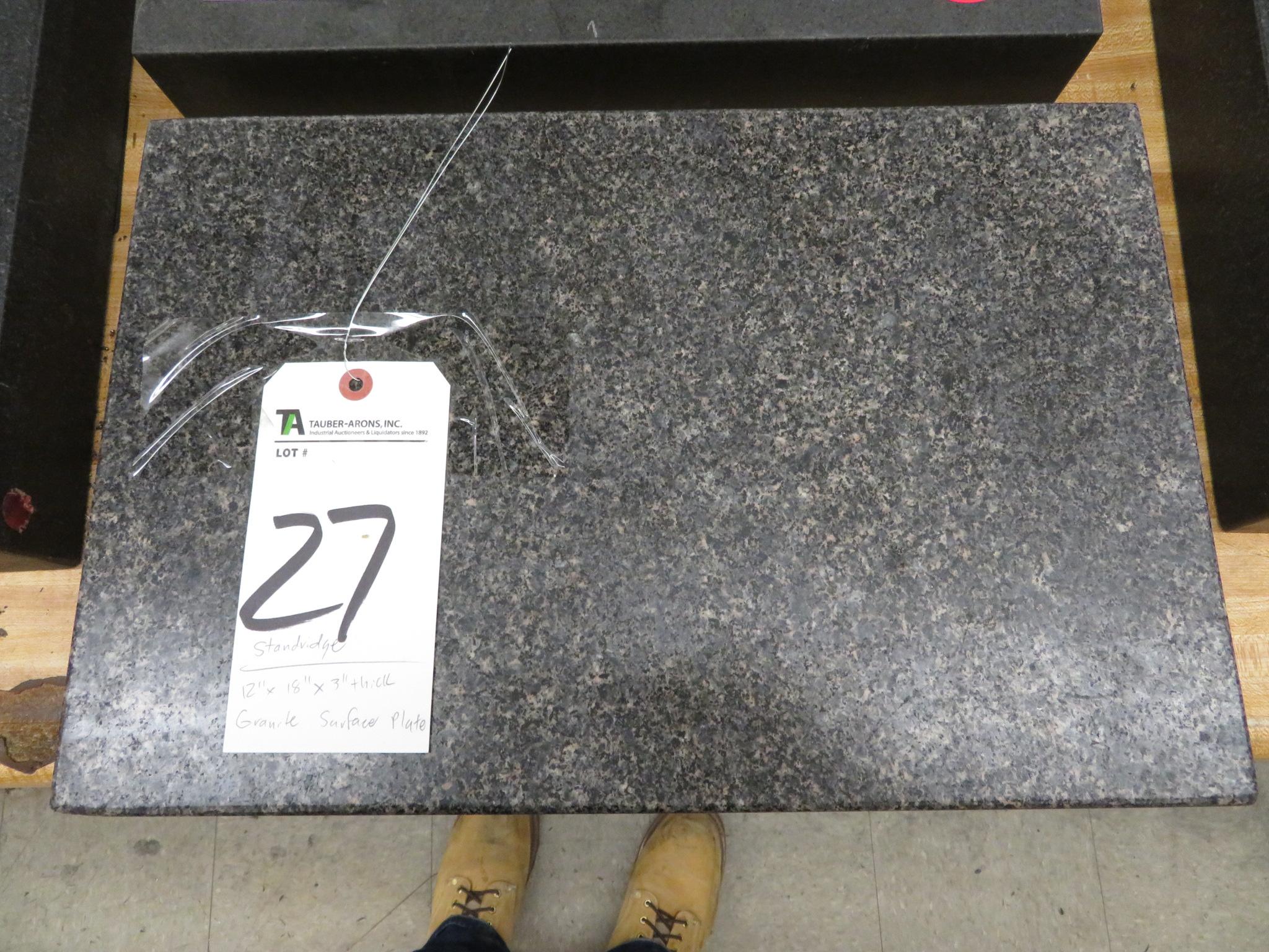 """Standridge 12"""" x 18"""" x 3"""" Thick Granite Surface Plate"""