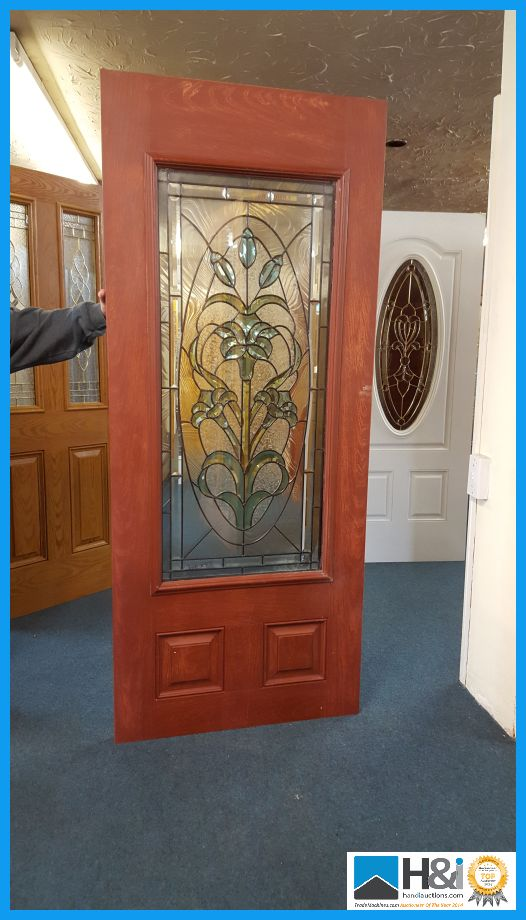 entrance door with genuine leaded triple glazing size 79 x 34 inch