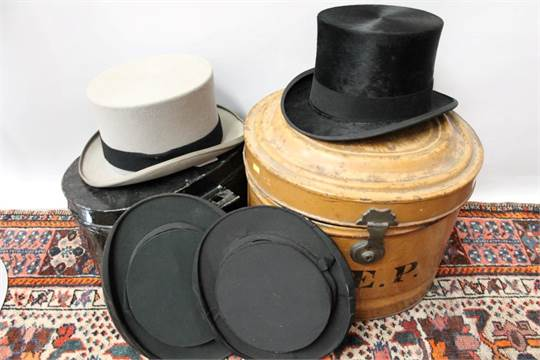 Gentlemen  39 s vintage black top hats - G. A. Dunn  amp  Co. with ... be9133131b3f