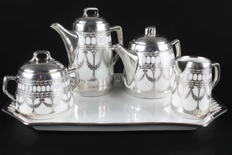 Jugendstil Porzellan Prunkservice mit 1000/1000 Silber Overlay von Tirschenreuth, 5-teiliges