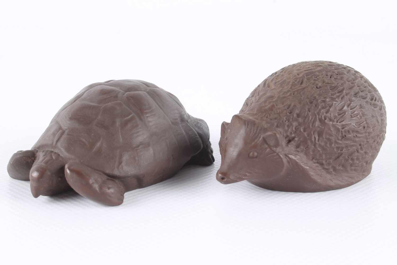 Meissen Igel und Schildkröte von Erich Oehme, Böttger-SteinzeugTierskulpturen, Meissen