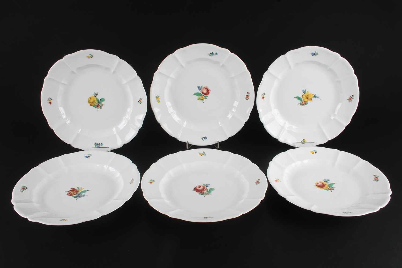 Nymphenburg 6 Speiseteller,Porzellan, 6 Kuchenteller, Dekor deutsche Blume, D 25 cm
