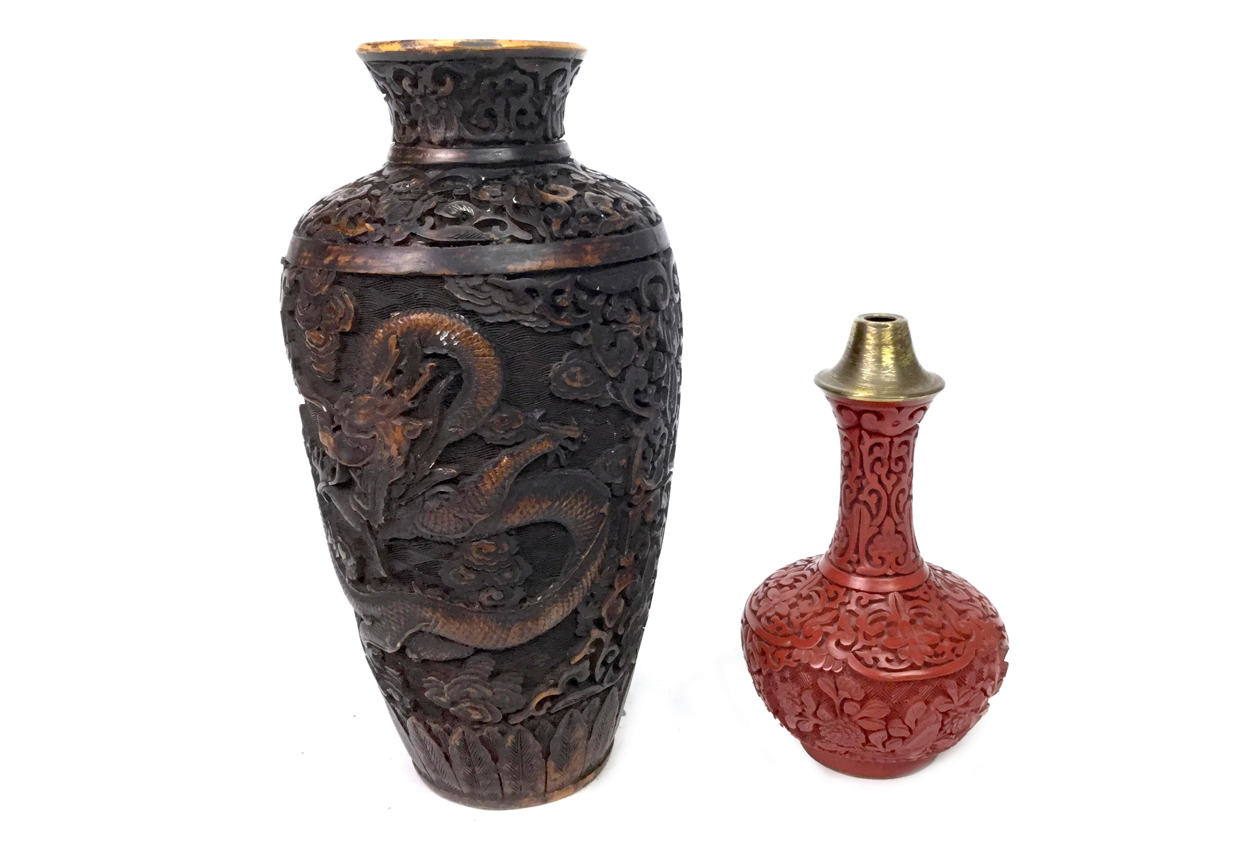 Lot 1153 - A LOT OF TWO CHINESE LACQUER VASES