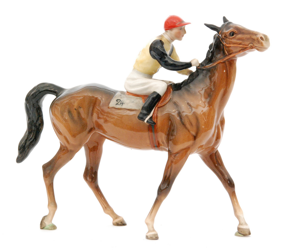 Lot 28 - A Beswick Racehorse and Jockey (Walking Racehorse), model 1037, colourway number two, circle mark,