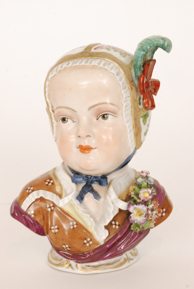 Lot 24 - An early 20th Century Dresden bust modelled after the Meissen original of Prince de Bourbon,