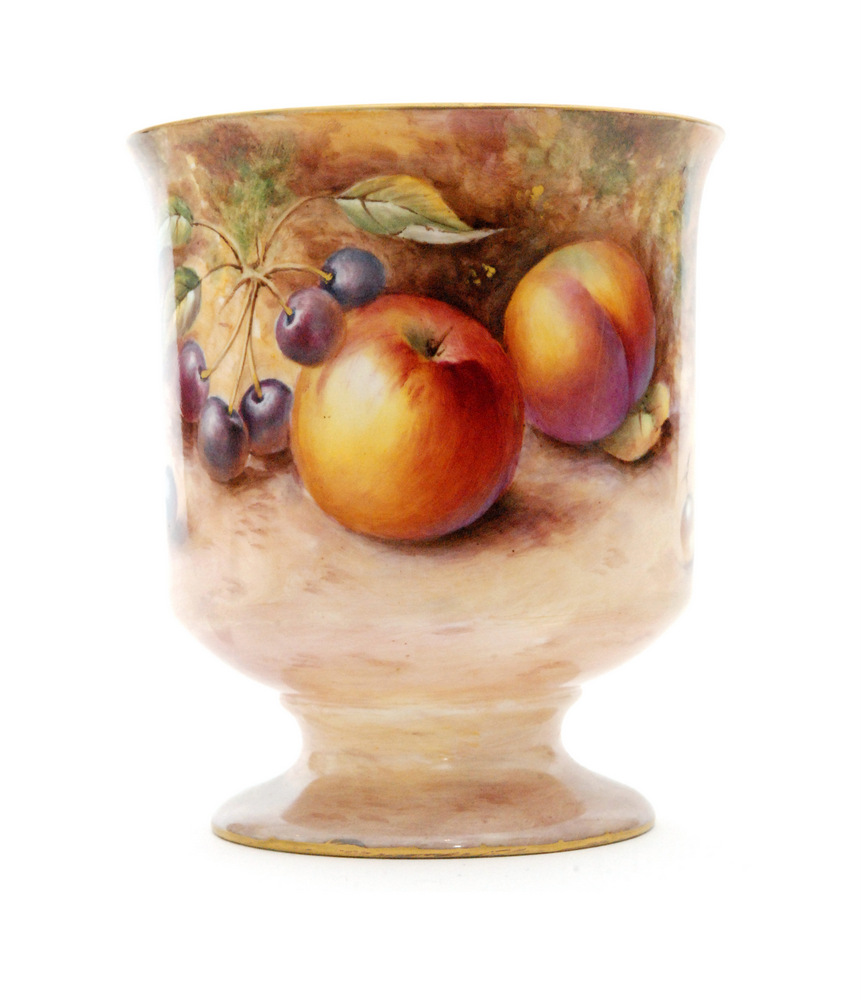 Lot 52 - A Royal Worcester Fallen Fruits chalice vase decorated in the round by P.