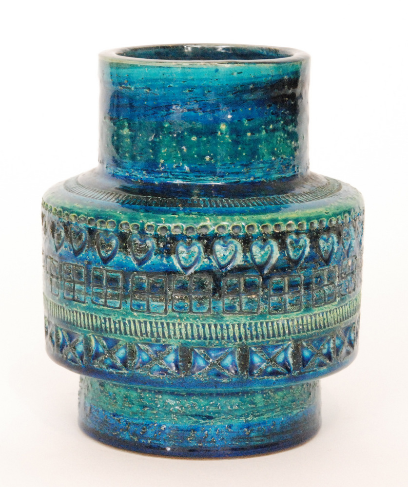 Lot 10 - A post war Italian studio pottery footed vase decorated with bands of impressed patterns against