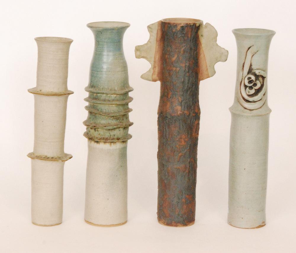 Lot 57 - Four contemporary studio pottery cylinder vases by Usha Khosla,