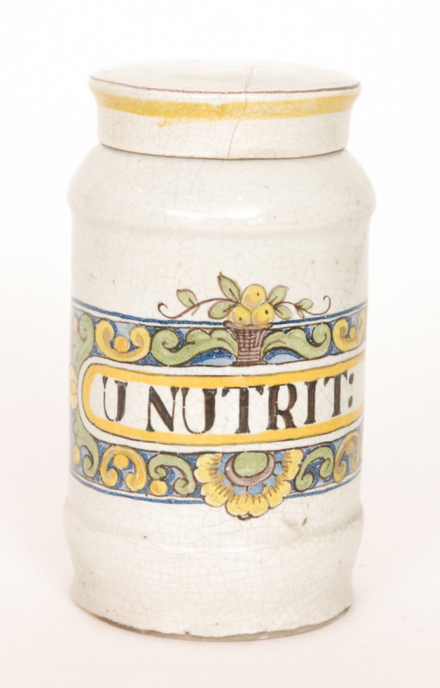 Lot 13 - An early 20th Century tin glazed maiolica type drug jar decorated to the front with a rectangular
