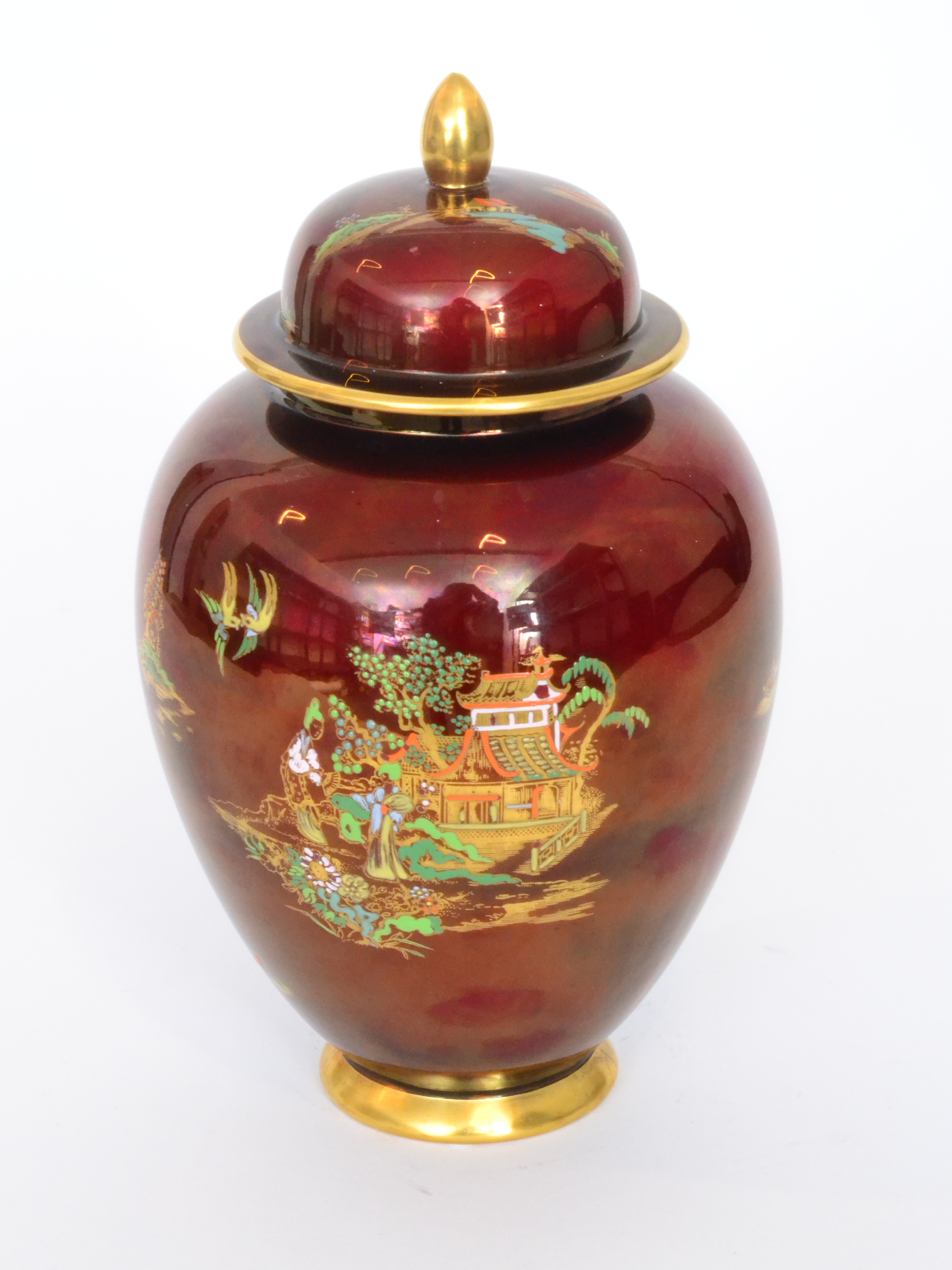 Lot 5 - A Carlton Ware New Mikado pattern ginger jar and cover decorated with an enamel and gilt