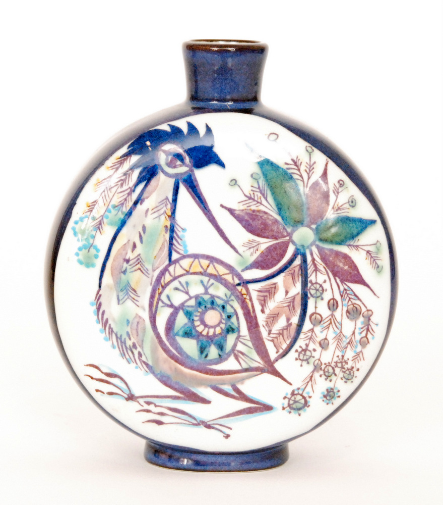 Lot 9 - A small Royal Copenhagen moonflask vase decorated to each face with a hand painted stylised bird by