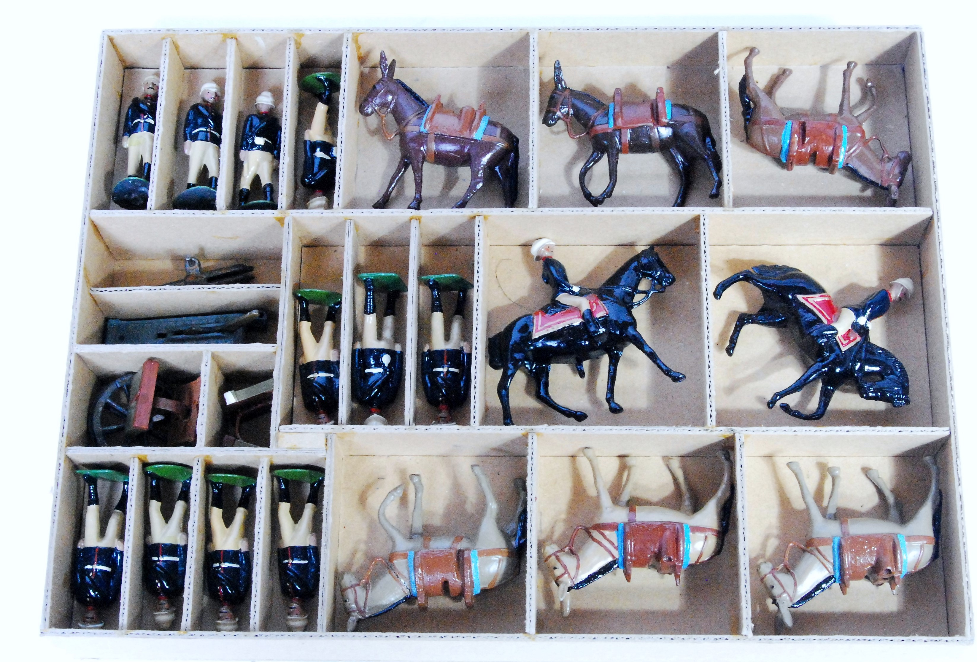 Britains - from Set 28 - Royal Artillery Mountain Battery, comprising: 2x Fixed Arm Mounted Officer,