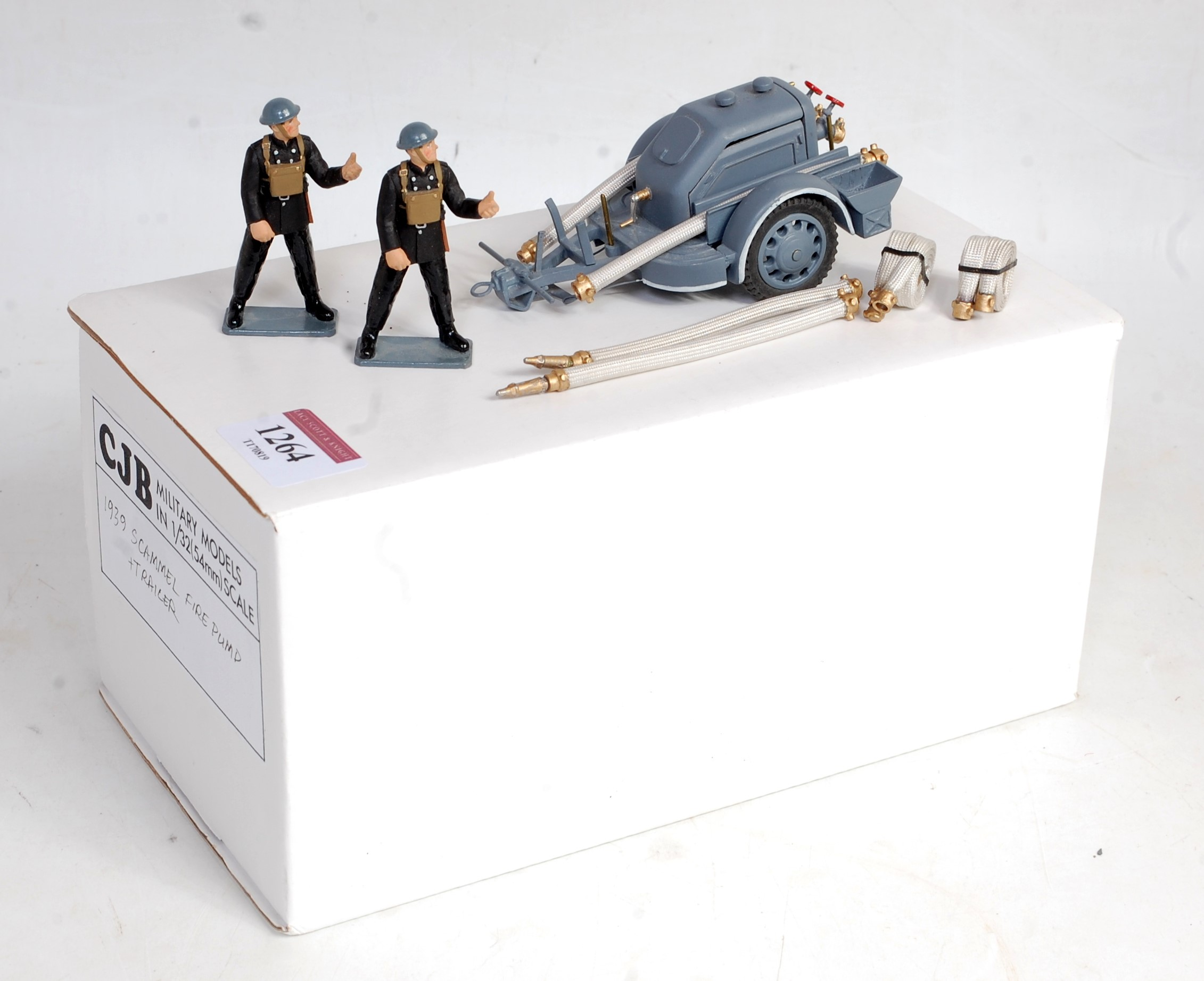 A CJB Military Models 1:32 scale white metal and resin model of a 1939 Scammell fire pump and