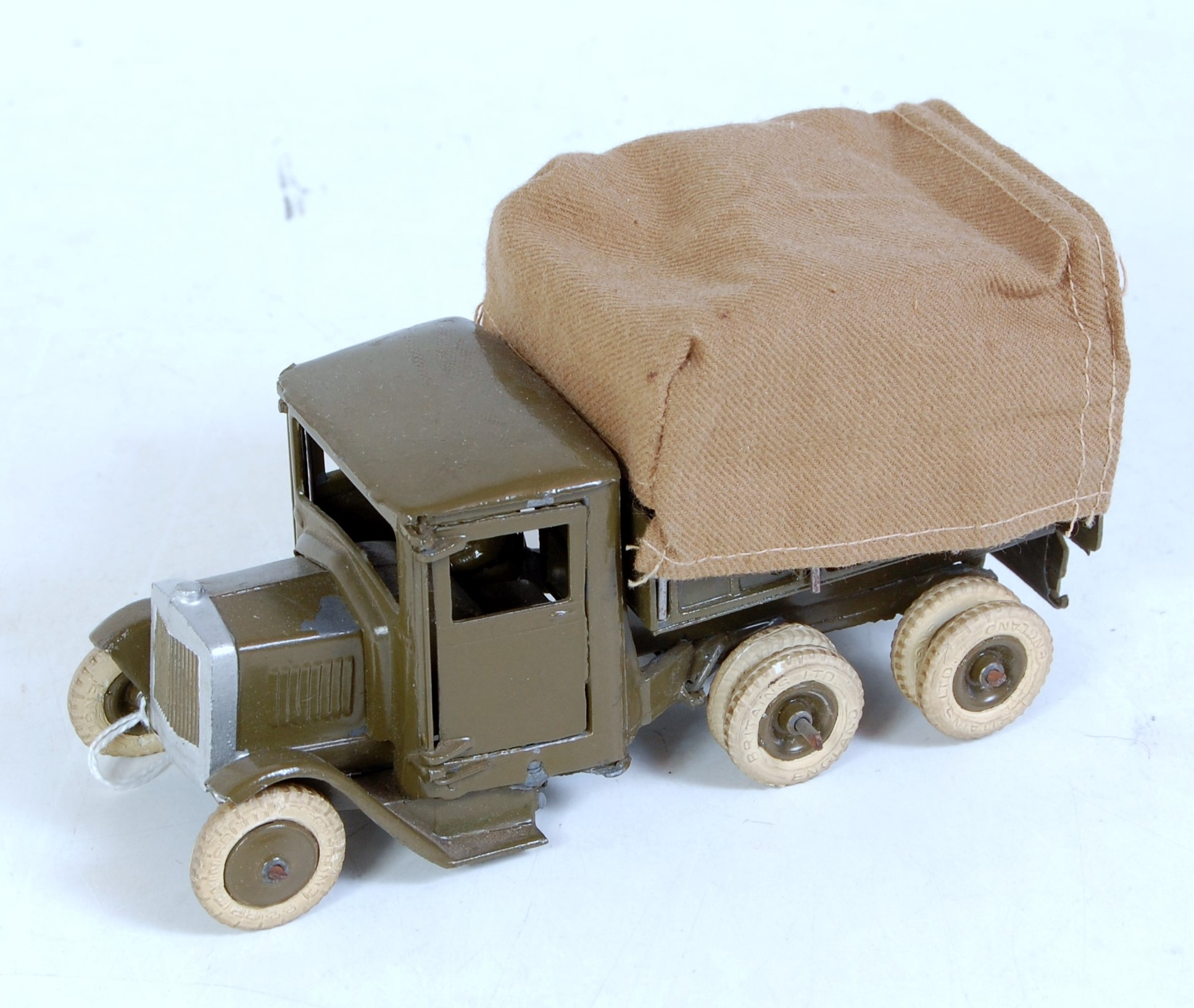 A Britains pre-war No.1433 covered army tender, pre-war version, finished in military drab green
