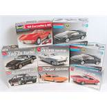 Eight various boxed as issued 1/24 and 1/25 scale Monogram, Revell, and AMT/ERTL plastic Classic Car