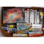 One box containing a large quantity of various mixed scale plastic aircraft kits to include