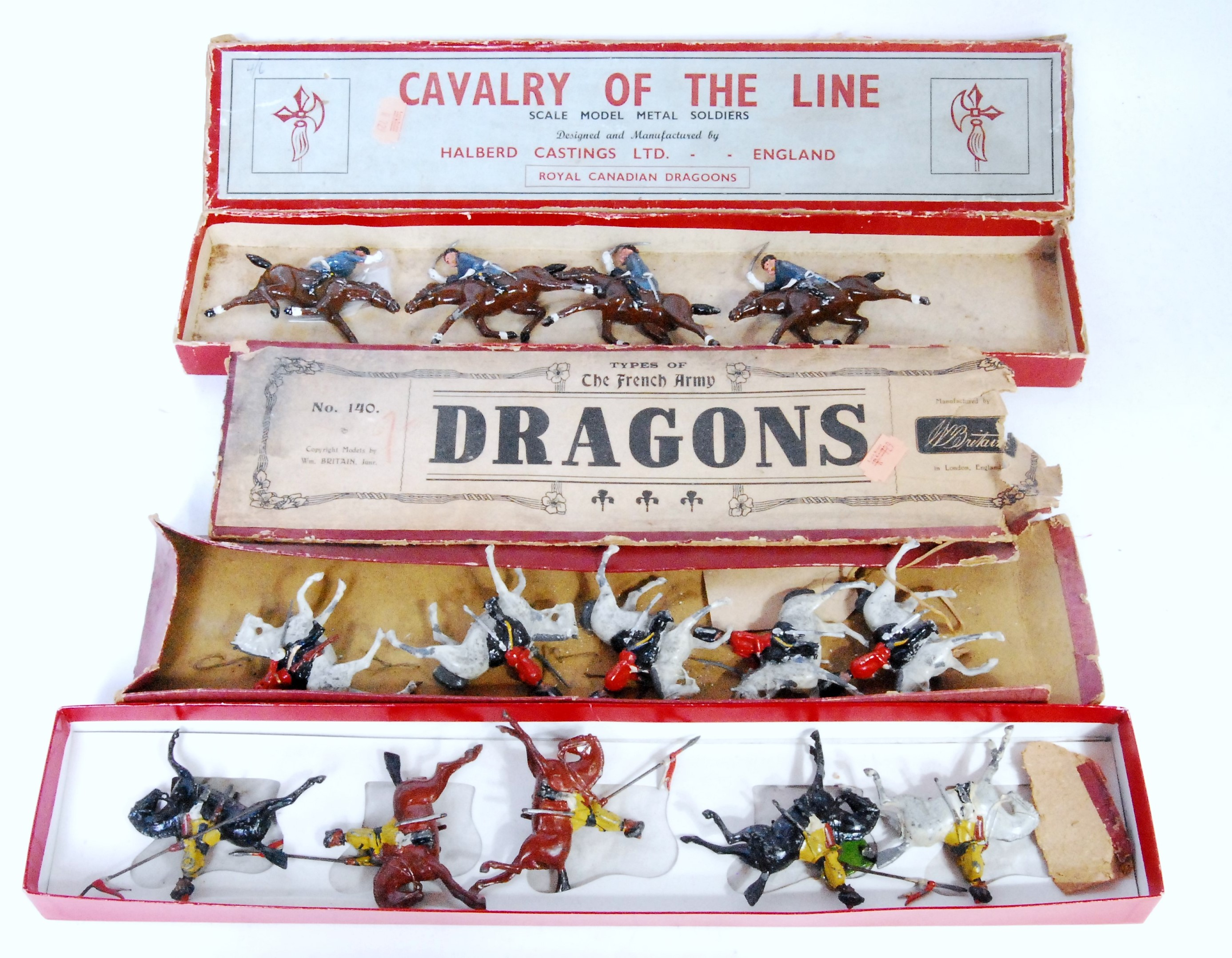 Collection of various Britains and Halberd Castings Mounted Soldiers, to include No.140 Britains