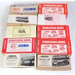 10 various boxed 1/76 scale/4mm white metal public transport and tram kits to include Street Scene