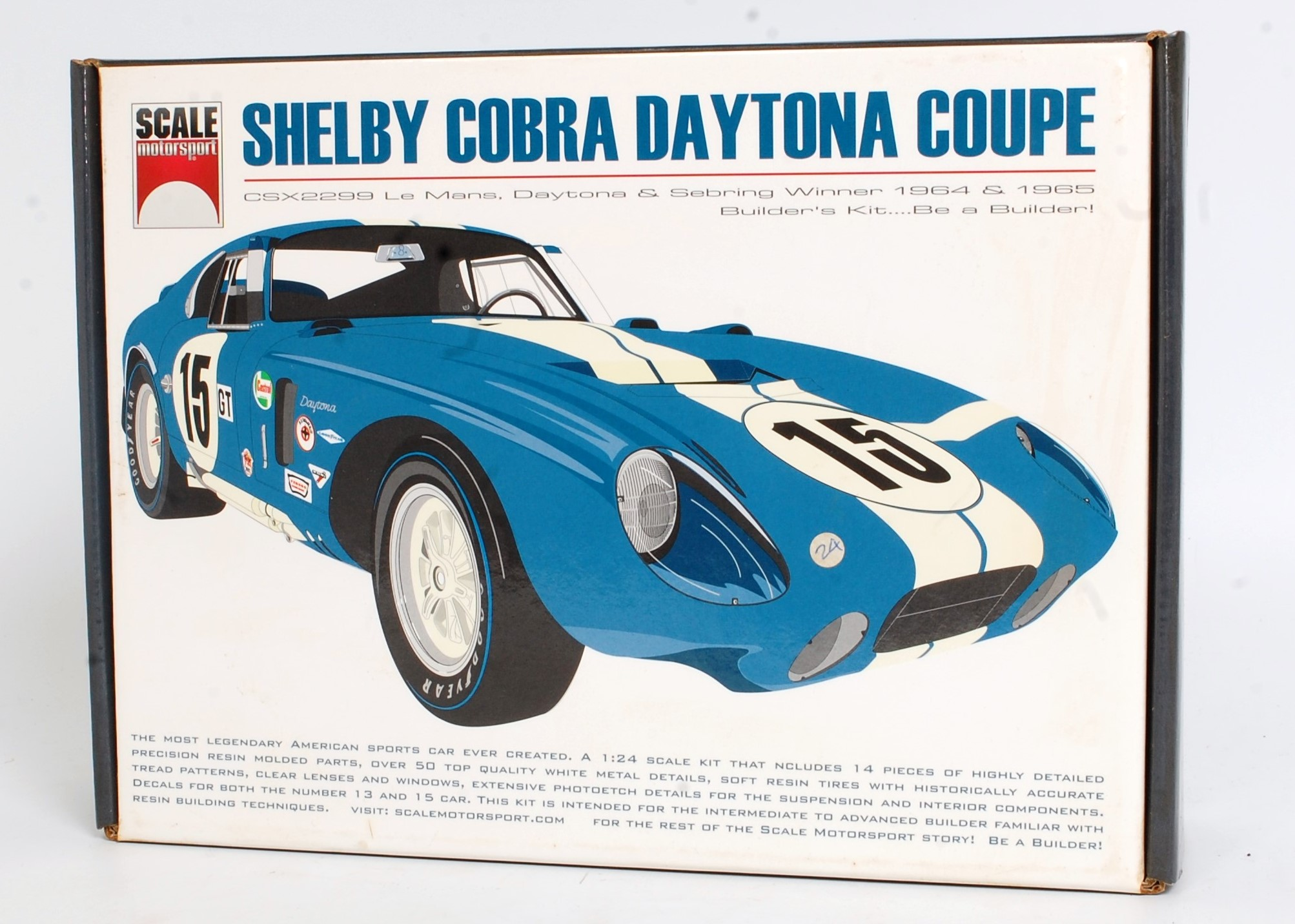 A Scale Motor Sport 1/24 scale multi media kit for a Shelby Cobra Daytona Coupe, appears as issued