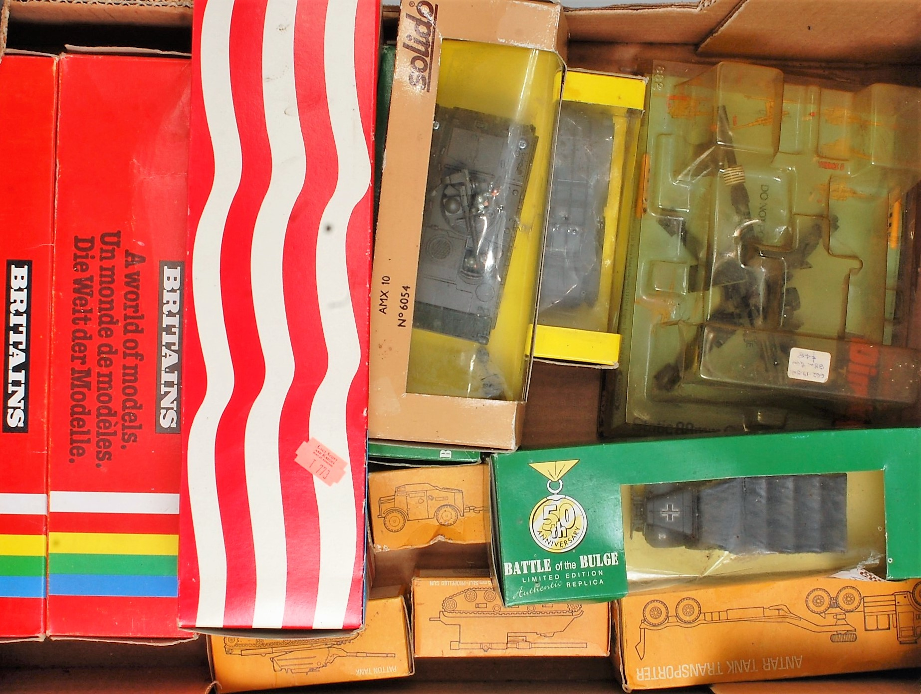 One box containing a large quantity of various Britains, Dinky Toys and Solido, together with