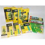 Eight various boxes Britains plastic make-up tree models to include No. 1808 willow, No. 1806 silver