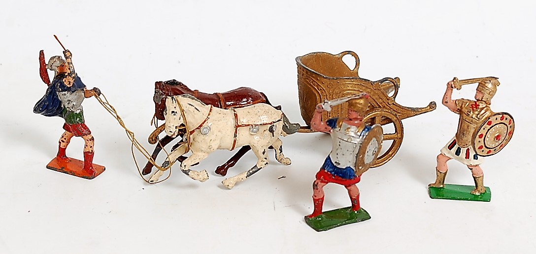 A John Hillco lead hollow cast Roman chariot comprising of gold chariot with twin horses, driver