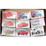 9 various boxed as issued Lindberg and AMT/ERTL 1/25 scale plastic 4x4 and Street Machine Classic