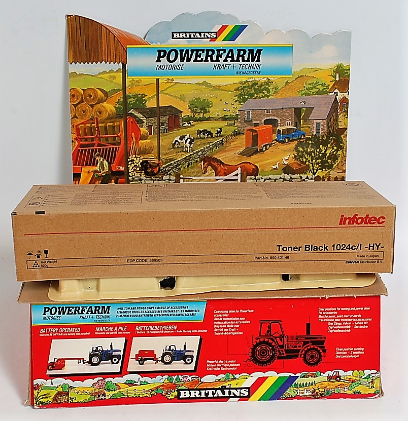 A Britains Power Farm battery operated shop display model of a rolling road, constructed in card