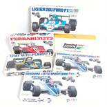 Six various boxed Tamiya and Wave of Japan 1/24 scale plastic Formula One racing car kits to include