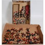 Two trays containing a large quantity of various Britains Hunt series, figurines and accessories,
