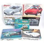 Seven various boxed Classic Racing Cars and Van 1/24 scale plastic kit group, mixed manufacturers to