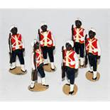 Six various loose Britains from set 19 West Indian Regiment figures, all marching with rifles raised