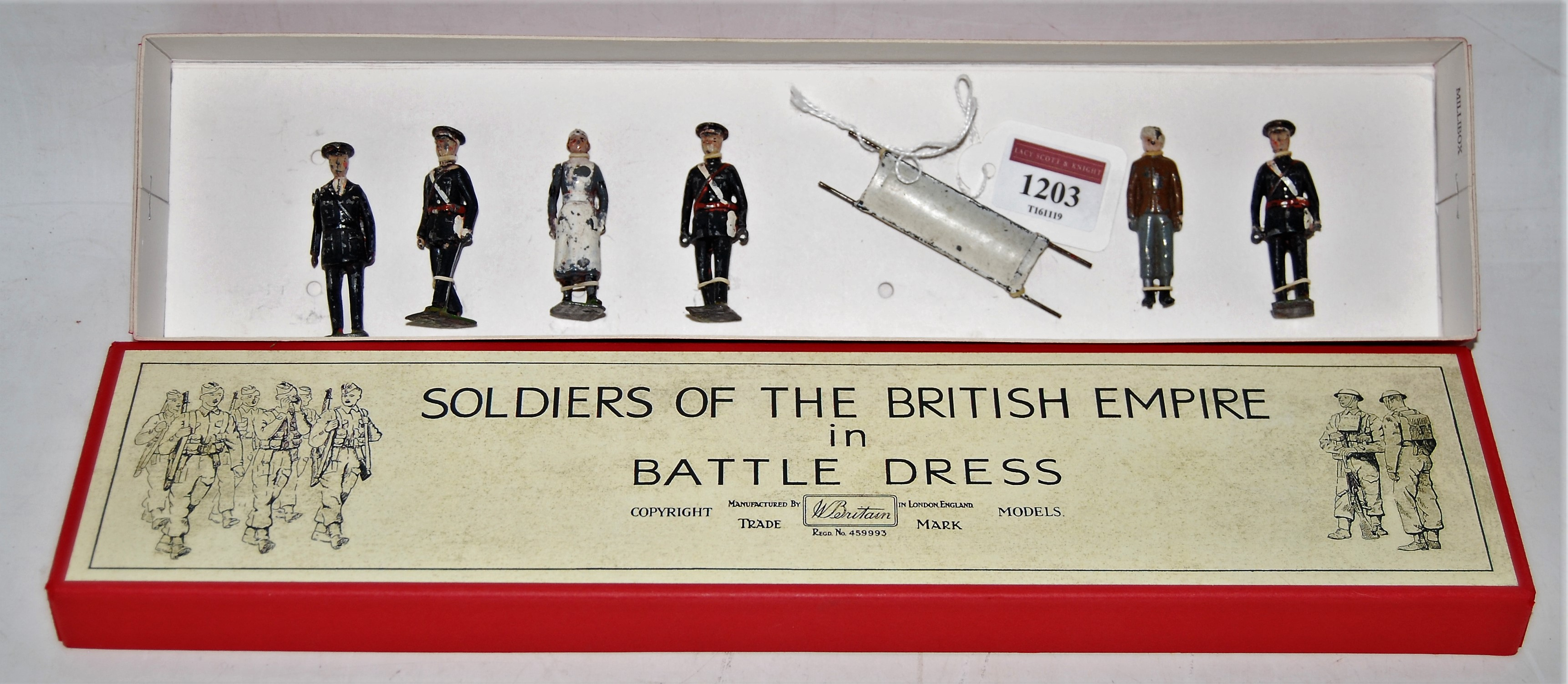 A Britains from set 1426 St John's Ambulance Brigade figure group comprising of two stretcher