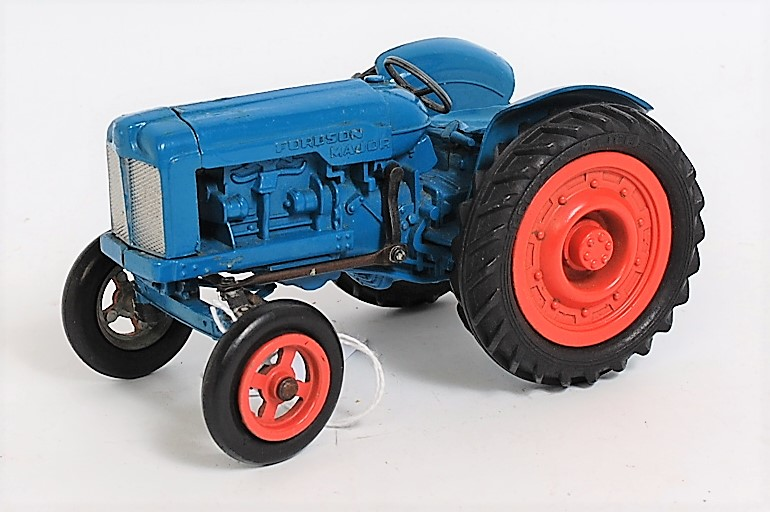 A Clifford Series diecast model of a Fordson Major tractor finished in blue with orange hubs and
