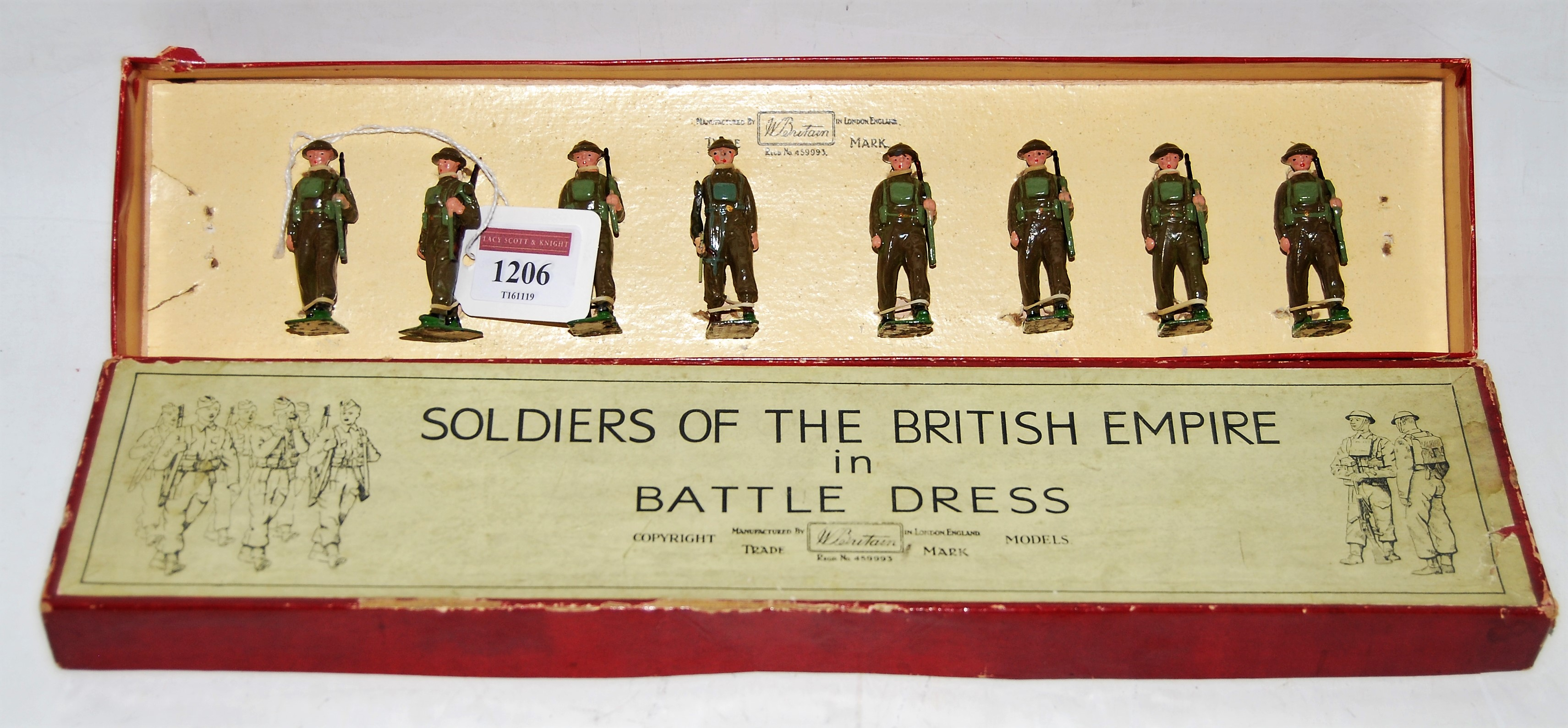 A Britains set No. 1858 British Infantry in full battle dress with slung rifles comprising of