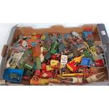 One tray containing a quantity of various lead, hollow cast and plastic farm miniatures to include