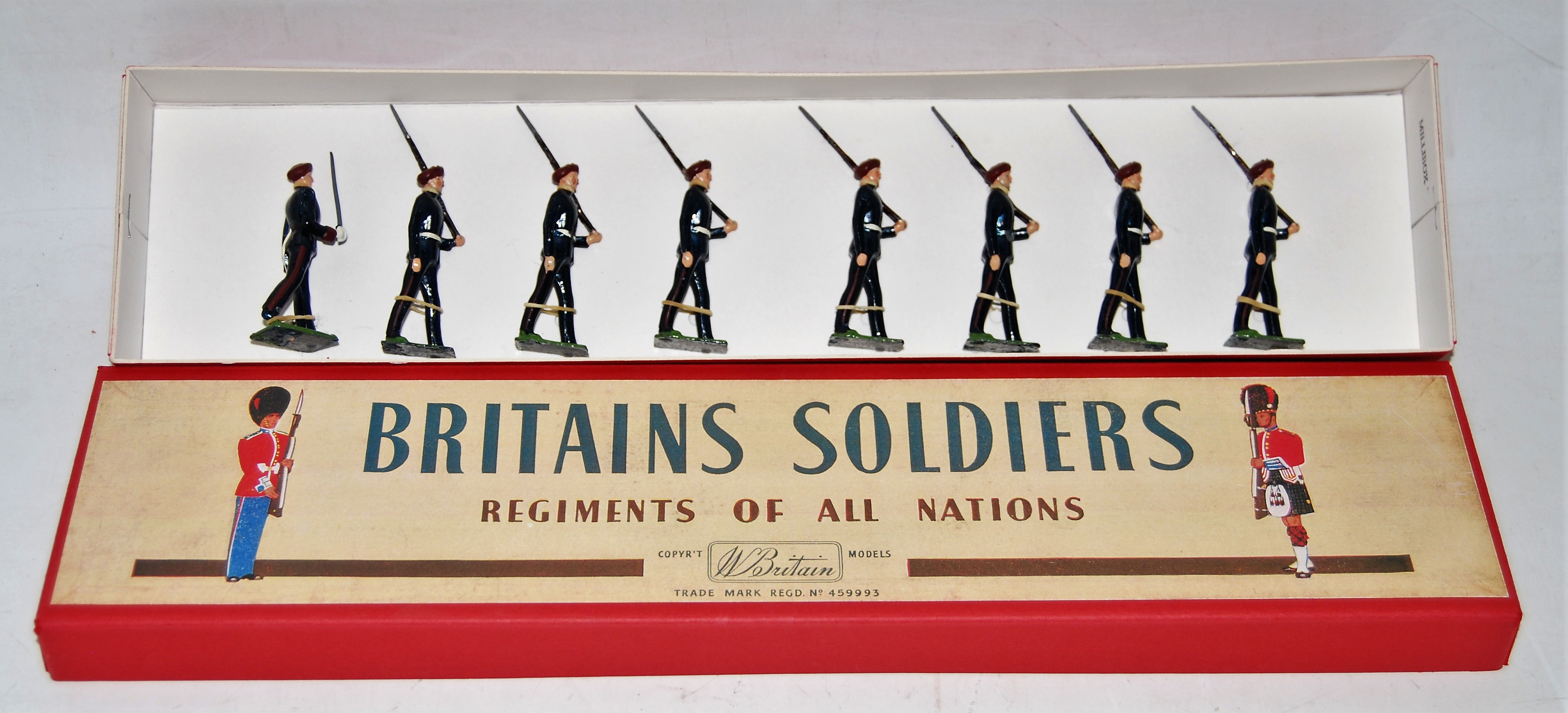 A Britains set No. 2092 Parachute Regiment (1953-59) comprising of officer walking with drawn